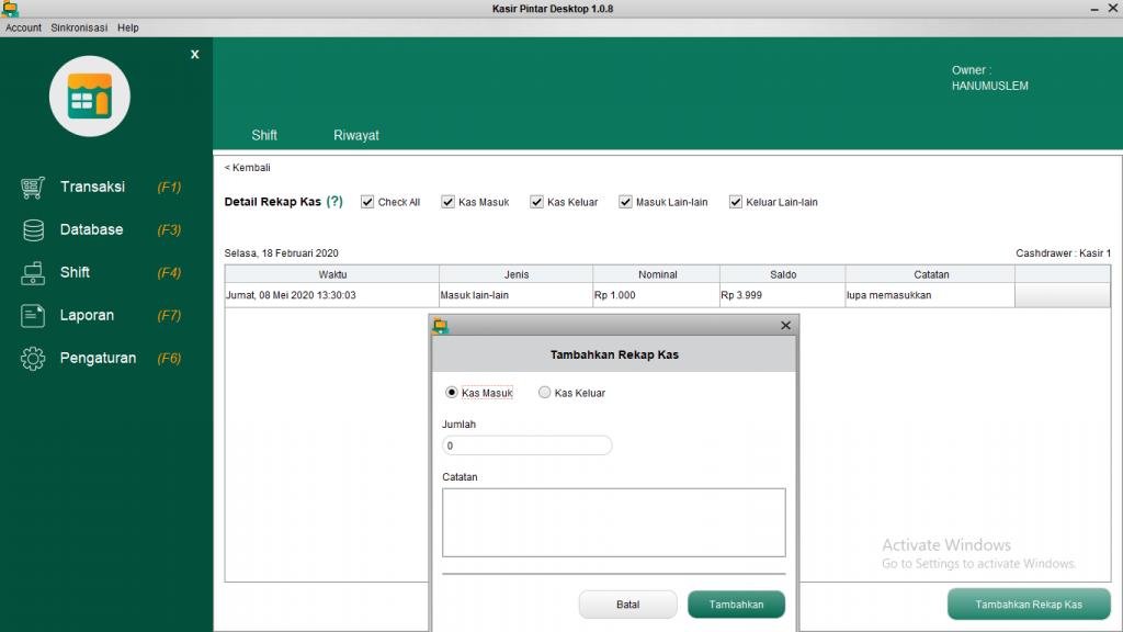 Shift dan Rekap Kas Kasir Pintar Desktop